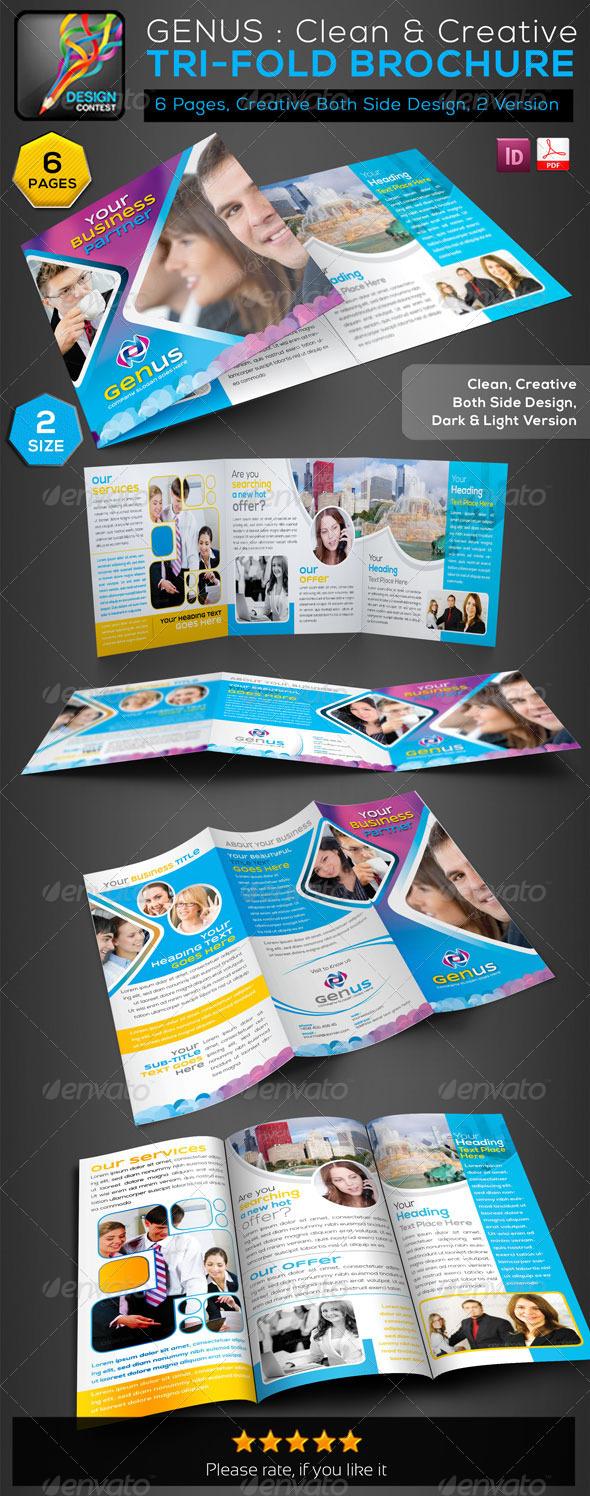 GraphicRiver GENUS Creative Clean Tri-Fold Business Brochure 5912404