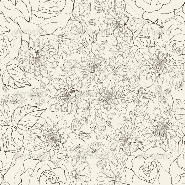 GraphicRiver Seamless Pattern from Chrysanthemums 5912452