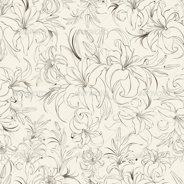 GraphicRiver Seamless Ttexture of Lilies 5912459