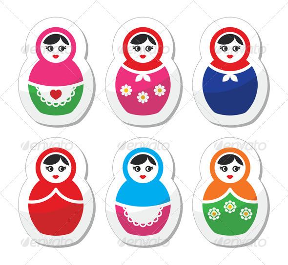 GraphicRiver Russian Doll Retro Babushka Icon Set 5912745