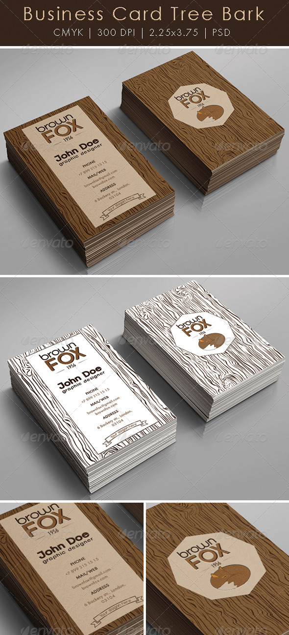 GraphicRiver Business Card Tree Bark 5756211