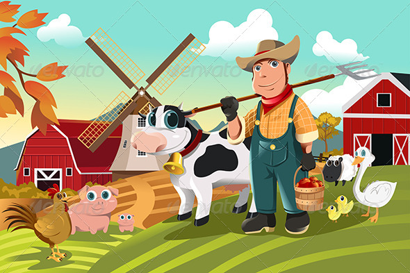 GraphicRiver Farmer at the Farm with Animals 5913179
