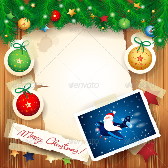 Christmas Background with Santa - Christmas Seasons/Holidays
