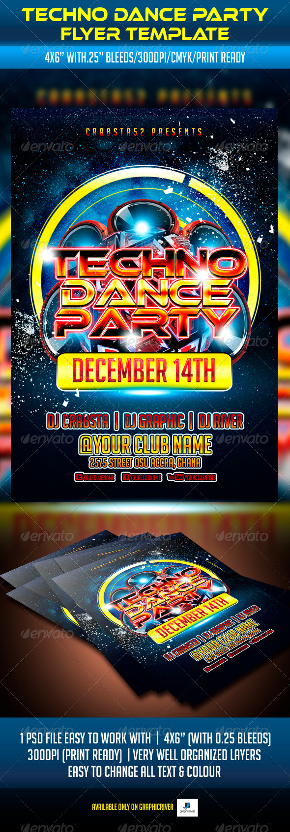 GraphicRiver Techno Dance Party Flyer Template 5877326