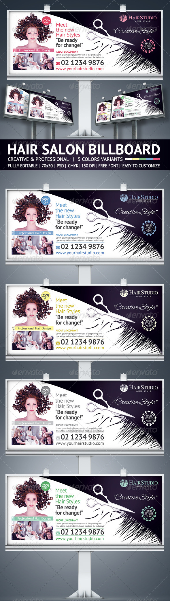Hair Salon Billboard Graphicriver