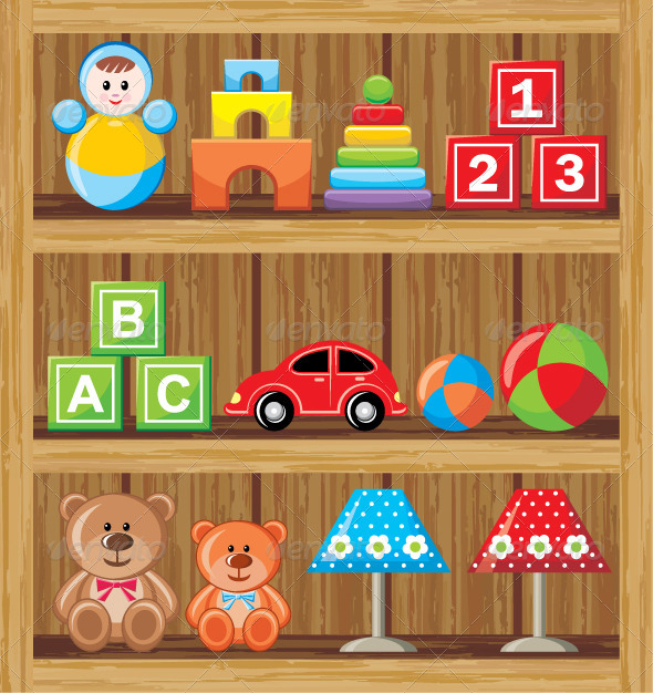 GraphicRiver Shelves with Toys 5914175