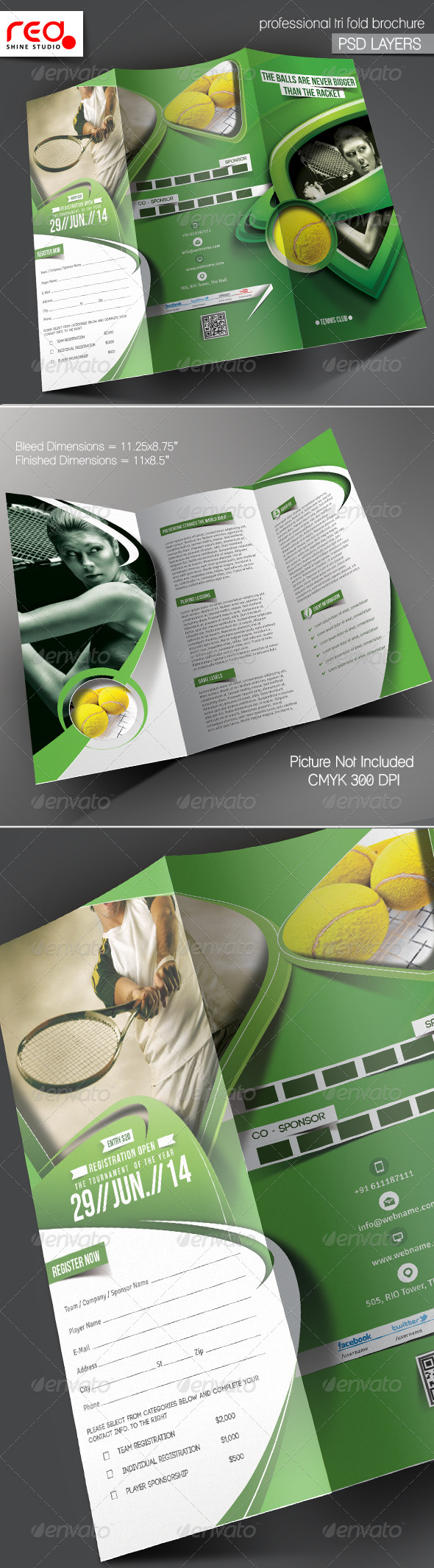 GraphicRiver Tennis Competition Trifold Brochure Template 5877537