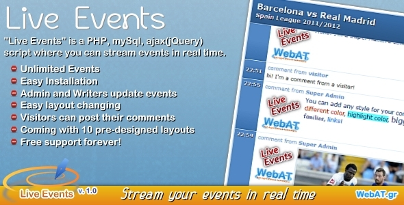 Live Events v. 1.0 - CodeCanyon Item for Sale