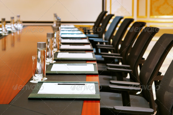 A detail shot of a meeting room