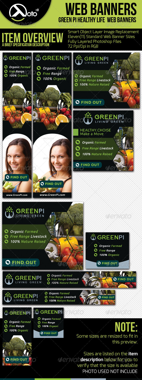 Green Pi Healthy Living Web Banners - Banners & Ads Web Elements
