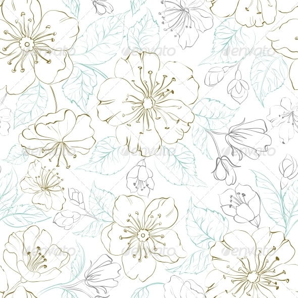 Background Bunga Sakur...Japanese Floral Pattern