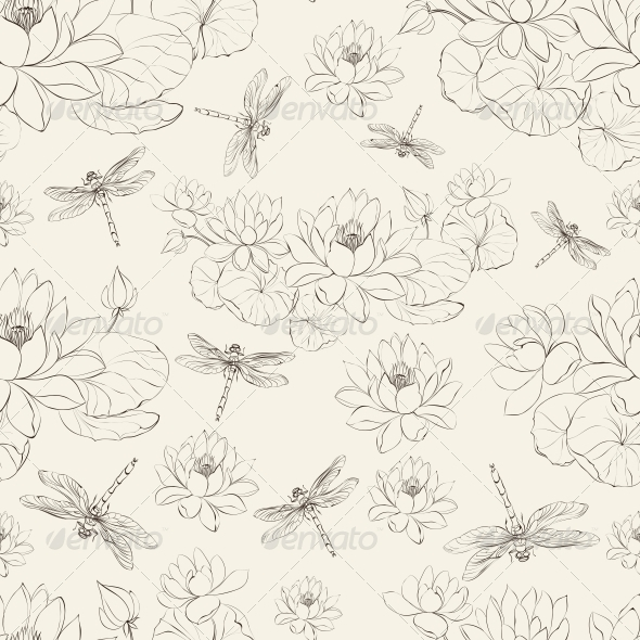 GraphicRiver Seamless Pattern of Lotus Flower and Dragonfly 5915382