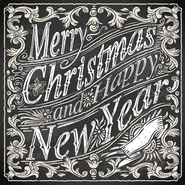 GraphicRiver Vintage Greeting Card Text on a Blackboard 5915529