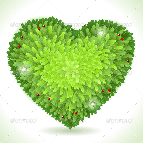 GraphicRiver Holly Leaves Heart Placeholder Isolated on White 5915532