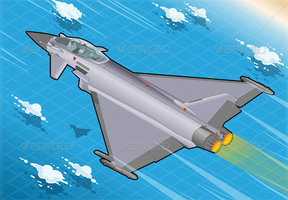 GraphicRiver Isometric Eurofighter in Flight in Rear View 5915553