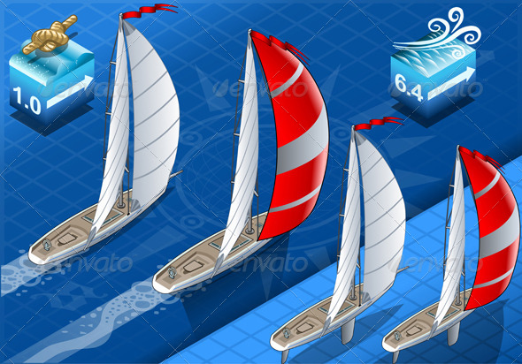 GraphicRiver Isometric Sailships in Navigation in Rear View 5915663