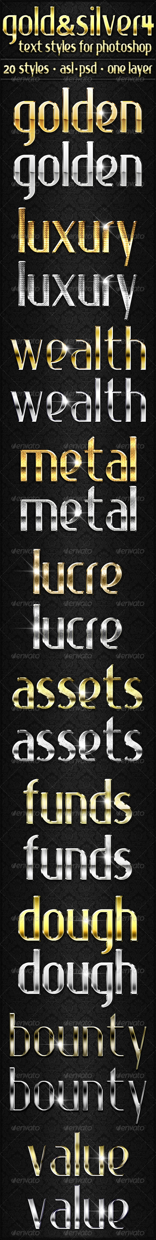 GraphicRiver Gold & Silver 4 Text Styles 5915667