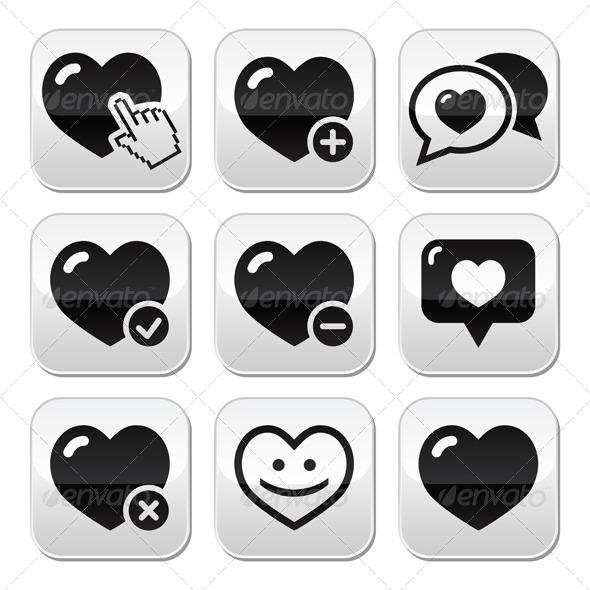 Heart Love Vector Buttons Set