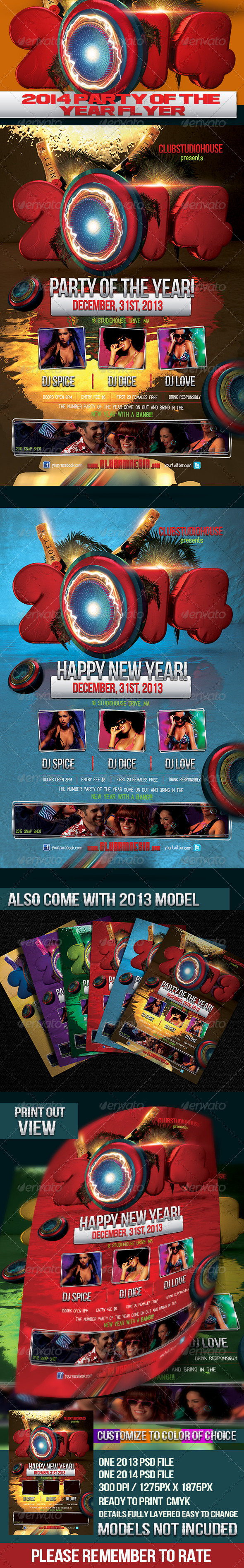 2014 2013 Party Of The Year Flyer Design