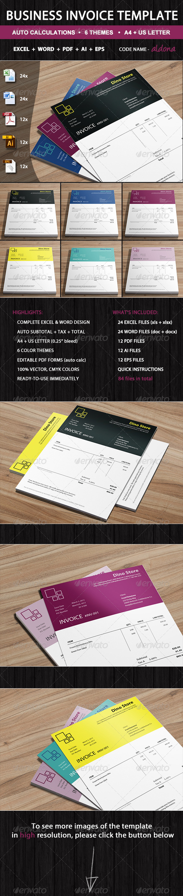 Commercial Proforma Invoice Pdf Ms Word Invoice Graphics Designs  Templates From Graphicriver Printable Invoice Pdf Excel with Invoice Reciept Pdf  Office Receipt Template Excel
