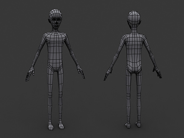 3DOcean Human Manga Male Base Mesh Low Poly 5917105