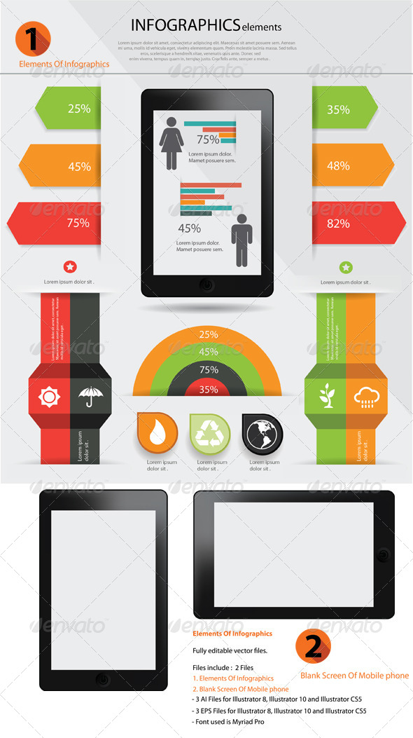 GraphicRiver Elements Of infographics & Blank Screen of Mobile 5917356