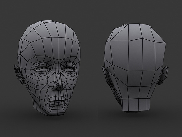 Human Manga Male Head Base Mesh - Low Poly - 3DOcean Item for Sale