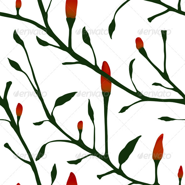 GraphicRiver Red Chilli Pepper Plant Seamless Pattern 5917388