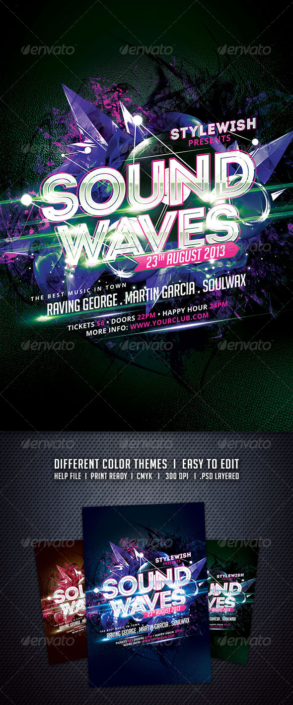 GraphicRiver Sound Waves Flyer 5917393