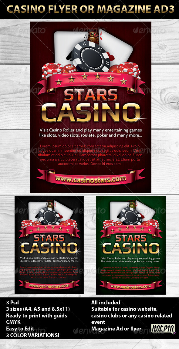 Casino event ticket template