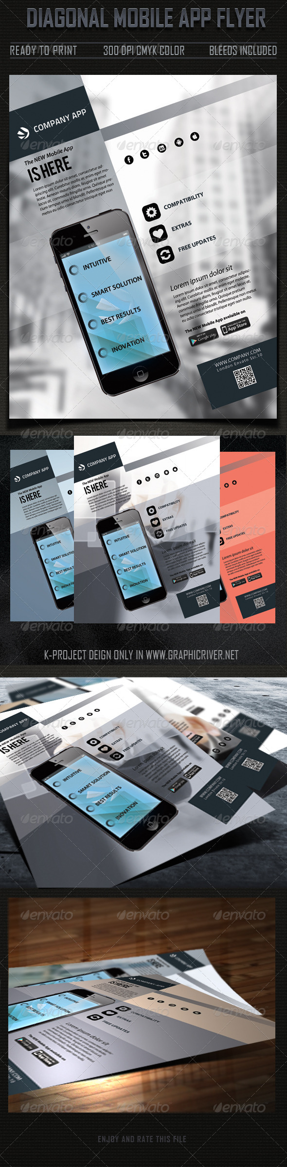 GraphicRiver Diagonal Mobile App Flyer 5872377