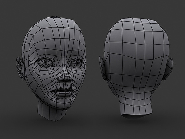 3DOcean Human Manga Female Head Base Mesh Low Poly 5918241
