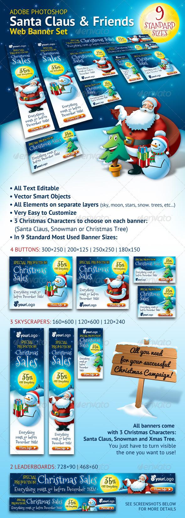 GraphicRiver Santa Claus & Friends Christmas Web Banner Set 5918982