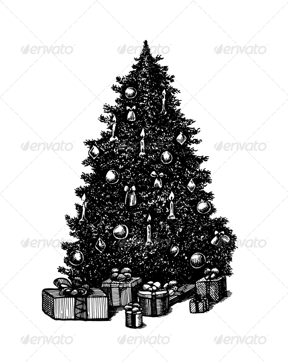 Vector Ink Pen Christmas Tree
