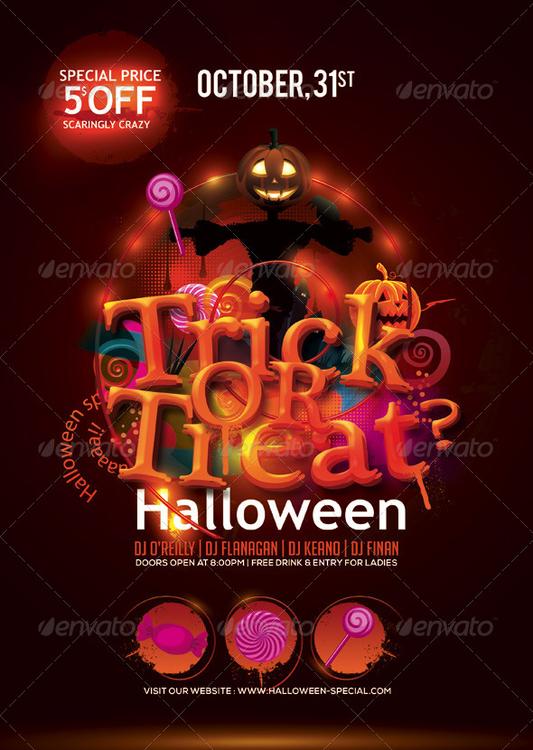 GraphicRiver Halloween Trick Or Treat Flyer 5887700
