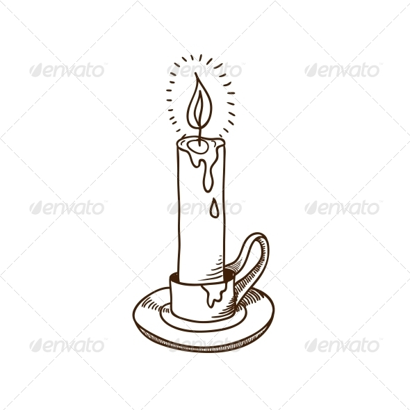 GraphicRiver Burning Candle Sketch 5919323