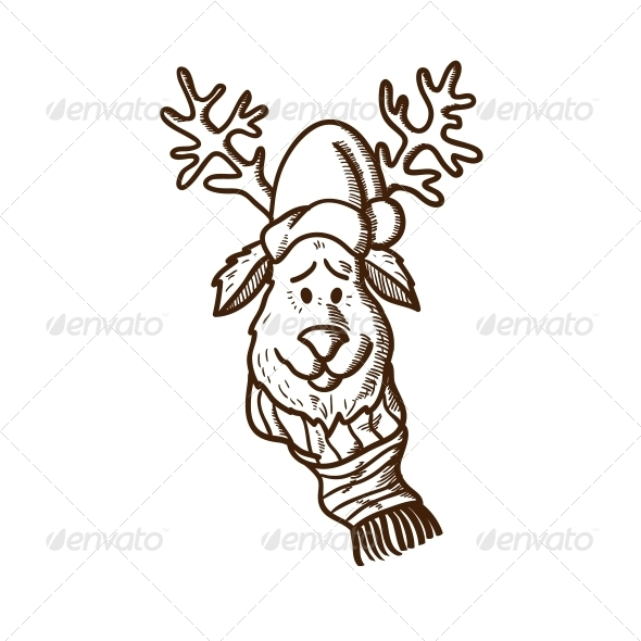 GraphicRiver Reindeer in Holiday Clothes 5919356