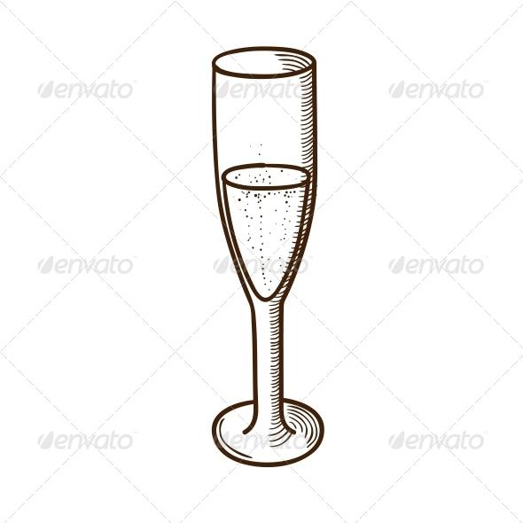 GraphicRiver Champagne Glass Sketch 5919368