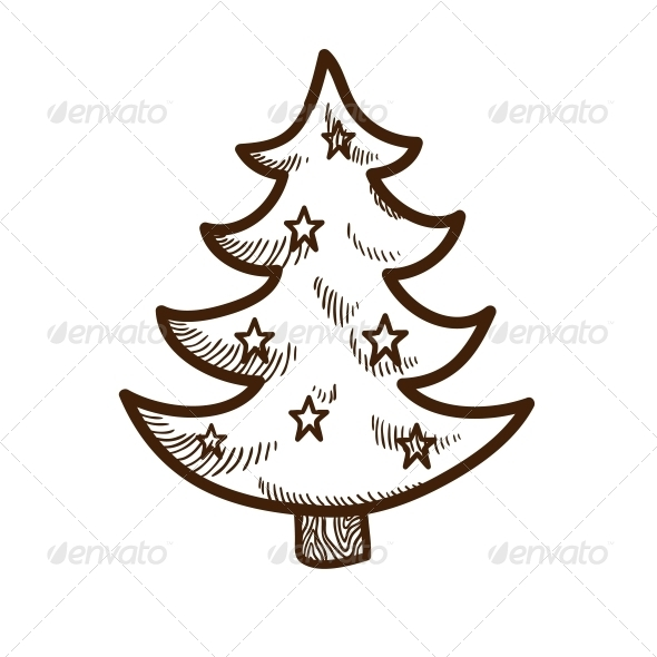 GraphicRiver Fir Tree with Stars 5919455