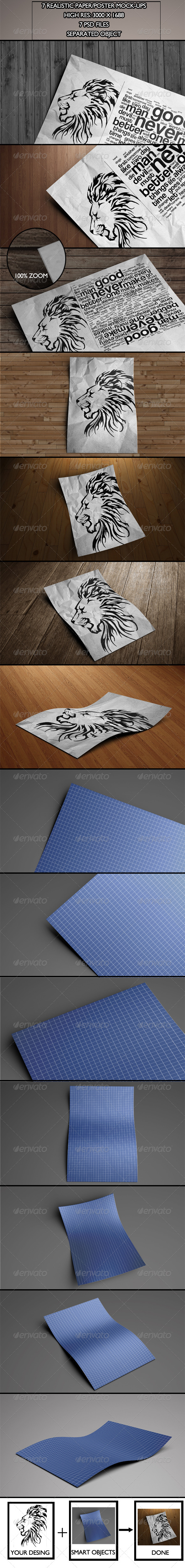 GraphicRiver 7 Realistic Paper Poster Mock-ups 5919457