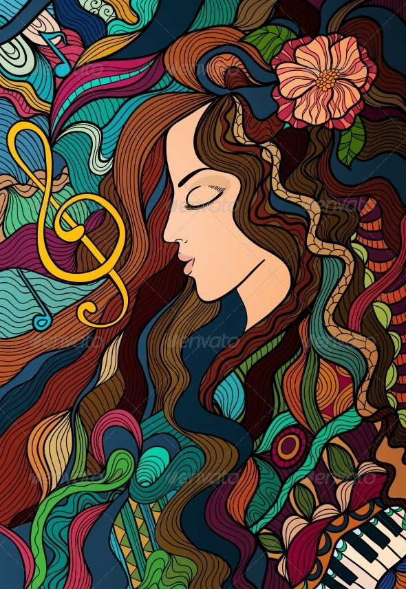 GraphicRiver Colorful Contrast Girl and Melody 5919604