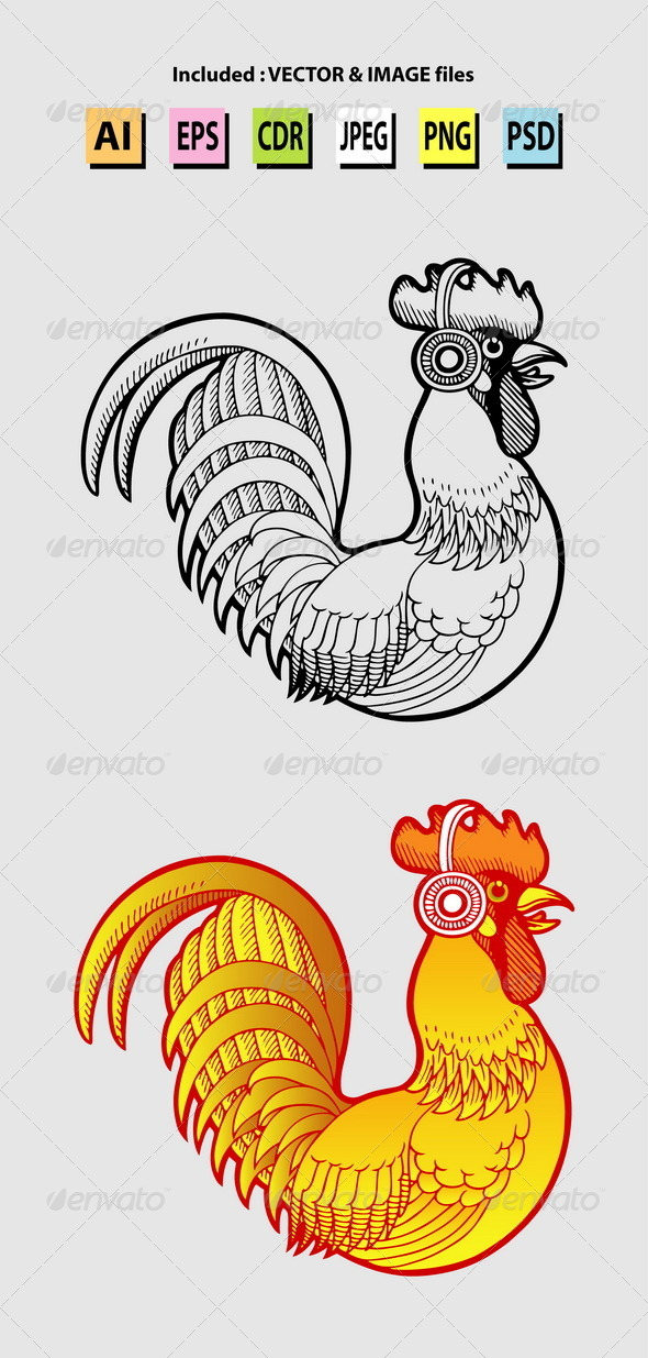 GraphicRiver Rooster Listening Music Illustration 5920600