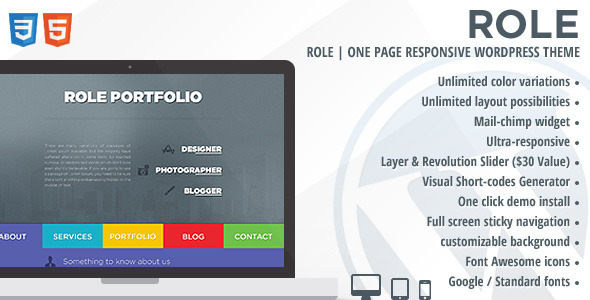 ThemeForest Role One Page Responsive WordPress Theme 5920900