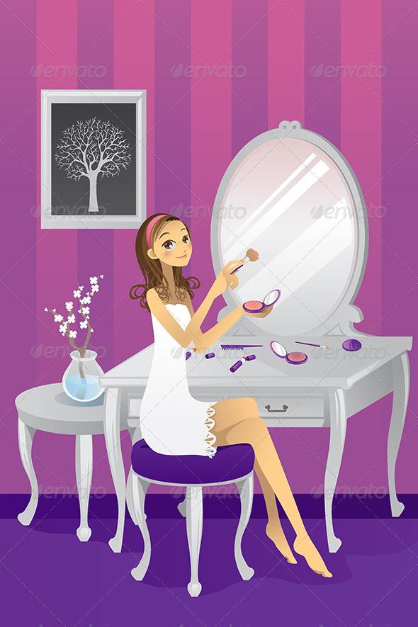GraphicRiver Girl Applying Makeup 5921009