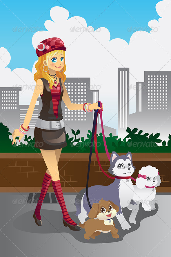 GraphicRiver Girl Walking her Dogs 5921035