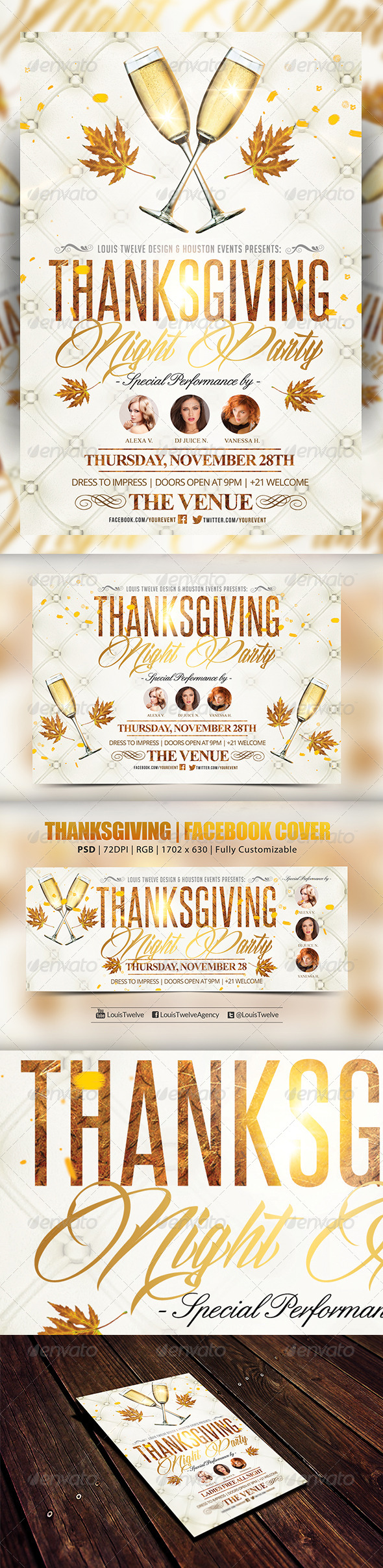 GraphicRiver Thanksgiving Night Vertical Horizontal & FB Cover 5921274