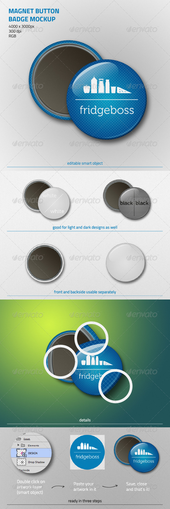 GraphicRiver Magnet Button Badge Mockup 5921552