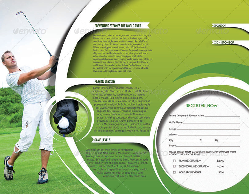 Golf tournament trifold brochure template by for Golf tournament program template