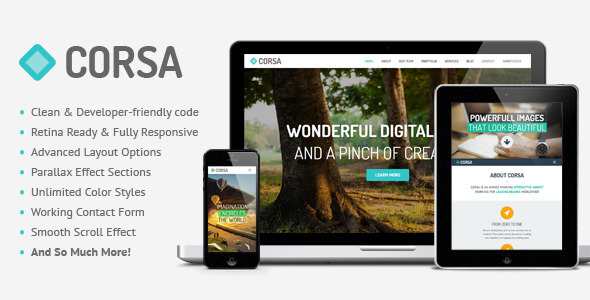 ThemeForest Corsa Retina Responsive OnePage HTML Template 5921743
