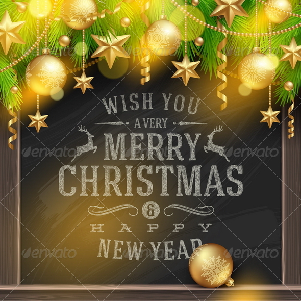 GraphicRiver Chalkboard with Christmas Greetings and Decor 5921992